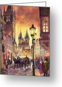 Watercolor  Painting Greeting Cards - Prague Old Town Squere Greeting Card by Yuriy  Shevchuk
