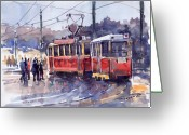 Old Painting Greeting Cards - Prague Old Tram 01 Greeting Card by Yuriy  Shevchuk