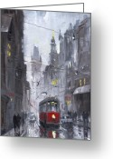 House Tapestries Textiles Greeting Cards - Prague Old Tram 03 Greeting Card by Yuriy  Shevchuk