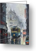 Town Painting Greeting Cards - Prague Old Tram 04 Greeting Card by Yuriy  Shevchuk