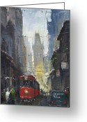 Europe Painting Greeting Cards - Prague Old Tram 05 Greeting Card by Yuriy  Shevchuk