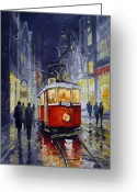 Europe Painting Greeting Cards - Prague Old Tram 06 Greeting Card by Yuriy  Shevchuk