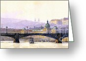 Europe Painting Greeting Cards - Prague Panorama Cechuv Bridge variant Greeting Card by Yuriy  Shevchuk