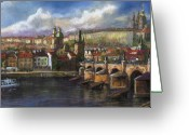 Prague Pastels Greeting Cards - Prague Panorama Charles Bridge Prague Castle Greeting Card by Yuriy  Shevchuk