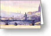 Europe Painting Greeting Cards - Prague Panorama Chehuv Bridge Greeting Card by Yuriy  Shevchuk