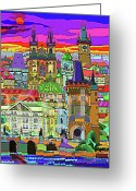 Decorativ Mixed Media Greeting Cards - Prague Panorama Old Town Greeting Card by Yuriy  Shevchuk