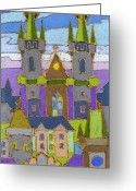 Prague Pastels Greeting Cards - Prague Panorama Greeting Card by Yuriy  Shevchuk
