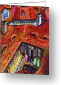 House Tapestries Textiles Greeting Cards - Prague roofs 01 Greeting Card by Yuriy  Shevchuk