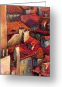 Prague Pastels Greeting Cards - Prague Roofs Greeting Card by Yuriy  Shevchuk