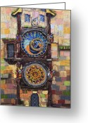 Clock Greeting Cards - Prague The Horologue at OldTownHall Greeting Card by Yuriy  Shevchuk