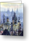 Buildings Painting Greeting Cards - Prague Towers Greeting Card by Yuriy  Shevchuk