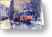 Old Painting Greeting Cards - Prague Tram 02 Greeting Card by Yuriy  Shevchuk