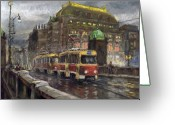 Prague Pastels Greeting Cards - Prague Tram Legii Bridge National Theatre Greeting Card by Yuriy  Shevchuk