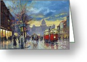 Old Painting Greeting Cards - Prague Vaclav Square Old Tram Imitation by Cortez Greeting Card by Yuriy  Shevchuk