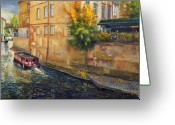 Old Town Painting Greeting Cards - Prague Venice Chertovka 2 Greeting Card by Yuriy  Shevchuk