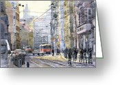 Buildings Painting Greeting Cards - Prague Vodickova str Greeting Card by Yuriy  Shevchuk