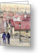 Buildings Painting Greeting Cards - Prague Zamecky Schody Castle Steps Greeting Card by Yuriy  Shevchuk