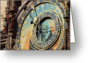 Czech Republic Digital Art Greeting Cards - Praha Orloj Greeting Card by Shawn Wallwork