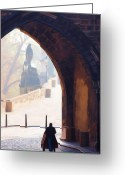 Charles River Digital Art Greeting Cards - Praha Push Cart Artist Greeting Card by Shawn Wallwork