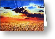 Prairie Sky Art Greeting Cards - Prairie Gold Greeting Card by Hanne Lore Koehler
