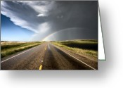Hail Photo Greeting Cards - Prairie Hail Storm and Rainbow Greeting Card by Mark Duffy