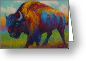 Buffalo Painting Greeting Cards - Prairie Muse - Bison Greeting Card by Marion Rose