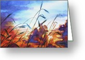 Western Canada Landscape Art Greeting Cards - Prairie Sky Greeting Card by Hanne Lore Koehler