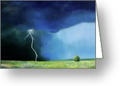Prairie Landscape Greeting Cards - Prairie Storm Greeting Card by Toni Grote