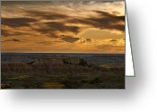 Rock Formation Greeting Cards - Prairie Wind Overlook Badlands South Dakota Greeting Card by Steve Gadomski