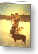 Pasture With Snow Greeting Cards - Praise Him With The Harp And All Ye Shepherd Dogs Greeting Card by Anastasia  Ealy