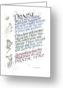 Happy Colors Greeting Cards - Praise the Lord Greeting Card by Judy Dodds