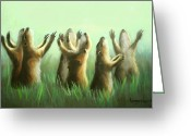 Babys Greeting Cards - Praising Prairie Dogs Greeting Card by Anthony Falbo