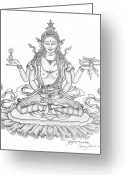 Iconography Drawings Greeting Cards - Prajnaparamita -Perfection of Wisdom Greeting Card by Carmen Mensink