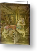Amusement Parks Greeting Cards - Prancing Steed Greeting Card by Jan Amiss Photography
