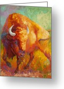 Buffalo Painting Greeting Cards - Prarie Gold Greeting Card by Marion Rose