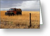 Grasslands Greeting Cards - Prarie Truck Greeting Card by Peter Tellone