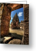 Temple Digital Art Greeting Cards - Prasat Phnom Rung Greeting Card by Adrian Evans