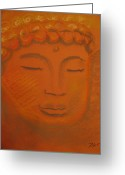Buddha Pastels Greeting Cards - Prayer Greeting Card by Cecilia Navarro