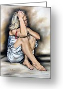Woman Figure Greeting Cards - Prayer II Greeting Card by Ilse Kleyn