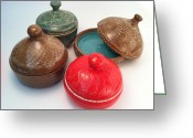 Thrown Ceramics Greeting Cards - Prayer Pots Greeting Card by Carolyn Coffey Wallace