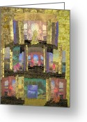 Wall Quilt Tapestries - Textiles Greeting Cards - Prayers for Peace Greeting Card by Roberta Baker