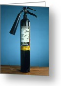 Precaution Greeting Cards - Pre-1997 Uk Co2 Fire Extinguisher Greeting Card by Andrew Lambert Photography