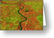 River Flooding Greeting Cards - Pre-flood Missouri River Greeting Card by Nasagoddard Space Flight Center
