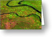 Flooding Greeting Cards - Pre-flood Rivers Greeting Card by Nasagoddard Space Flight Center
