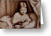 Girl Pyrography Greeting Cards - Precious Moments-No Border Greeting Card by Jo Schwartz