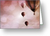 Baby Room Greeting Cards - Precious Pink Balloons Greeting Card by Andrea Hazel Ihlefeld