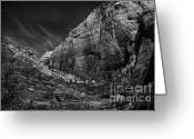 Trees And Rock Cliffs Greeting Cards - Precipice at Zion National Park lll Greeting Card by Hideaki Sakurai