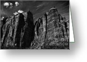 Trees And Rock Cliffs Greeting Cards - Precipice at Zion National Park V Greeting Card by Hideaki Sakurai