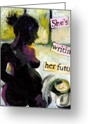 Narrative Text Greeting Cards - Pregnant Madonna Greeting Card by Tilly Strauss