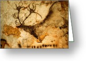 Caves Greeting Cards - Prehistoric Artists Painted A Red Deer Greeting Card by Sisse Brimberg